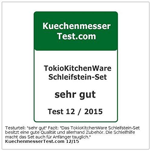 TokioKitchenWare Wasser-Schleifstein-Set, 2 Doppel-Wassersteine, Winkelhilfe & Halter -